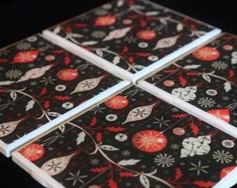 Ceramic Coasters - Christmas Coasters ~ Holiday Coasters ~ Christmas Custom Coasters ~ Handmade Coasters - Coaster Set - Custom Coasters