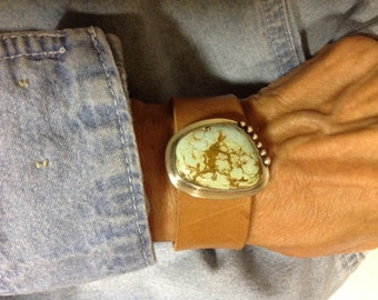 Morenci Turquoise Leather Bracelet
