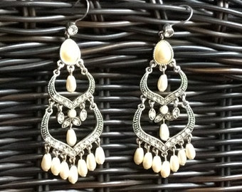 Vintage 1950's Chandelier Silver tone and Faux Pearl Earrings