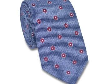 Blue Floral Necktie