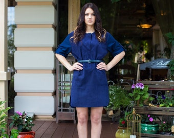Blue Suede Dress, Capetown, leather dress, suede, genuine leather, suede dress, blue, classic, formal dress, short sleeve