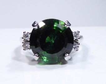 Estate 14k white gold ring with 11mm, 5.00ct green Tourmaline and Diamond, size 6.25