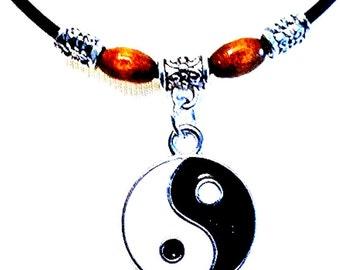 Black Adjustable Leather Beaded Cord Charm Bracelet Anklet. Hippi, Surf, Boho