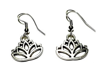 Sterling Silver Earrings with Tibetan Silver Charms - Hippie - Surf - Goth - Pagan