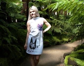 Versatile cotton  shift dress with print