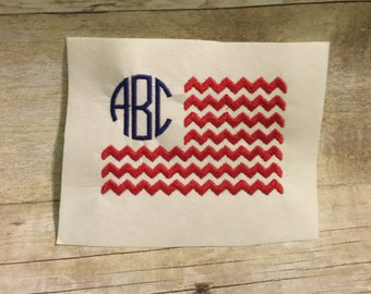 Monogrammed Chevron Flag Embroidery Design, Fourth Of July Embroidery Design
