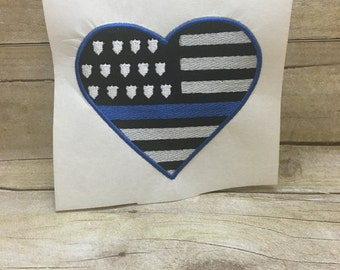 Police Support Flag Embroidery Design, Flag Embroidery Design