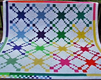Pretty stars king bed quilt