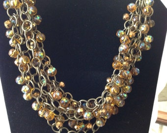 Brown Multi Strand Necklace, Glass Bead Necklace