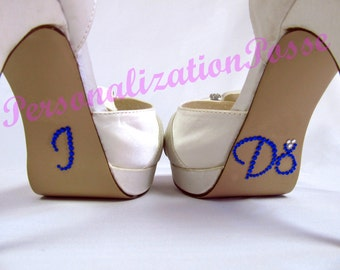 I Do Shoe Stickers with Ring - Royal Blue Rhinestones