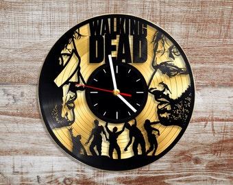 Walking dead vinyl wall clock. Gold record