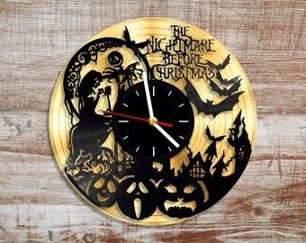 Nightmare before christmas vinyl wall clock. Gold record. Disney clock