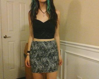 Lace Print Pencil Skirt