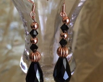 Copper and Black Bead Earrings
