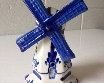 Vintage Delft Blue Pottery Windmill Hand Painted Holland