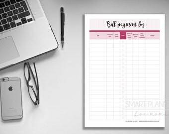 """Bill payment log planner insert, printable. Bill tracker checklist. A4 and US Letter (8.5""""x11"""") Size, Portrait. Instant download."""