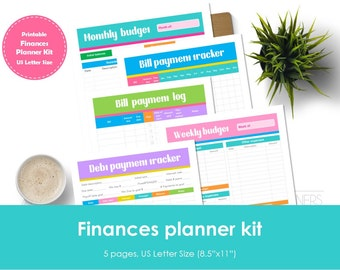 "Finance planner kit printable. USLetter(8.5""x11"") Size. Includes bill tracker, debt tracker, bill payment log, weekly and monthly budget."