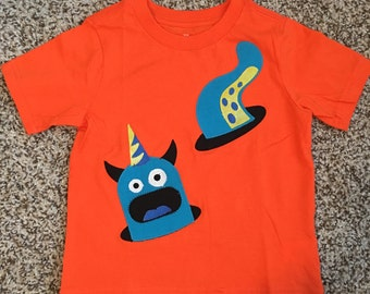 Appliqué Monster in hole boys T-shirt or Onesie