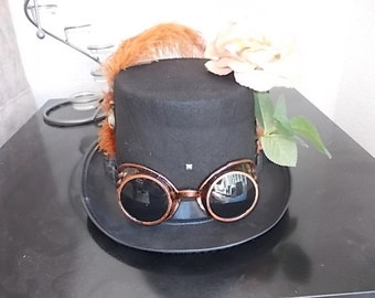 Gothic Steampunk hat.Steampunk Goggles.Feathers. Rose Size 57