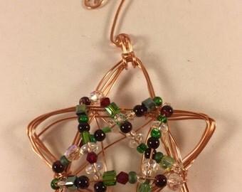 Sparkling Mixed Media Christmas STAR Ornament