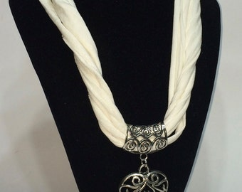 White Ribbon necklace with heart pendant
