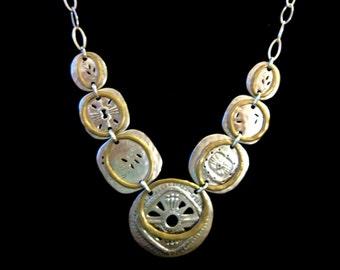 Retired Silpada-Boho Bib Sterling/Brass Necklace,Sterling Necklace,Silpada Jewelry