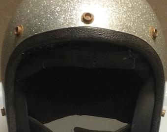 Rare Silver Speckled Vintage Motorcycle Helmet