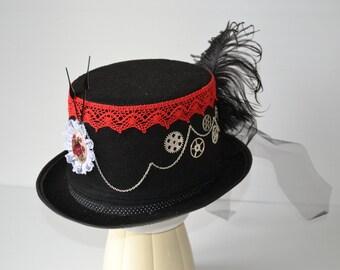 Hat Steampunk to stripe red