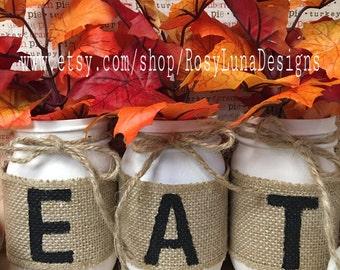 Harvest tabletop decor-set of 3 pint or quart mason jar-country home decor-cottage chic-autumn-home decor-kitchen decor