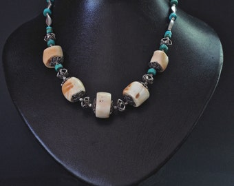 White coral and Turquoise necklace
