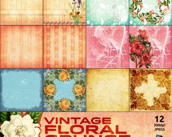 """Vintage Floral Grunge 12 8"""" x 8"""" Digital Backing Papers"""