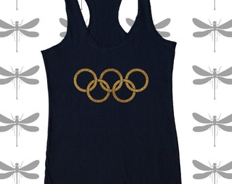 OLYMPIC symbol in Glitter Gold, Gold, Pink, or white on a racerback tank top. DragonFly Silhouette on back.