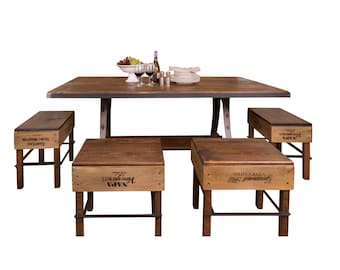 1107 Mill and Foundry Table with Crate Stools