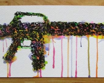 Flower Gun-screen printed poster