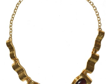 Renaissance 24-kt Gold-Plated Pewter Hammered Statement Necklace,vintage, Bohemian jewelry,renaissance,gothic jewelry jewelry,tudor jewelry,