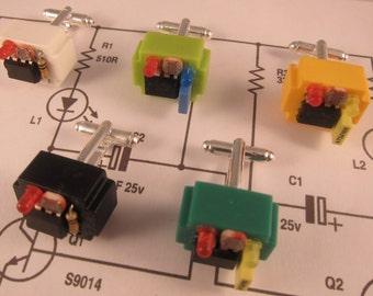 Electronic component steampunk cufflinks (dark green breadboard)
