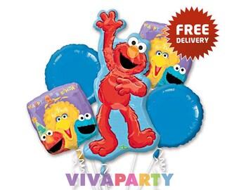 Sesame Street Balloon Bouquet 1st Birthday Boy Party Decor Free Shipping 5 pcs