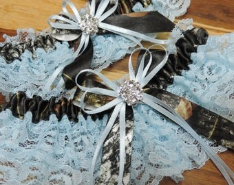 Your something blue Mossy Oak wedding garter set,  Mossy oak garter set,  Mossy oak garters