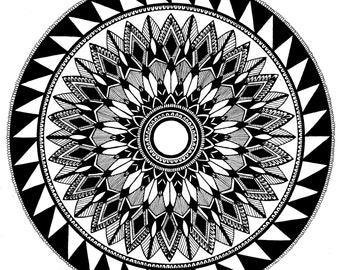 Mandala No. 4 Print, Handmade, Hand drawn, Black and White, Mandala Art, Geometric Art, Pattern, Symmetry, Wall Decor