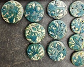 Polymer clay beads, handmade beads, large rustic beads, art beads, connector beads, blue beads, flower beads, jewelry beads, necklace beads