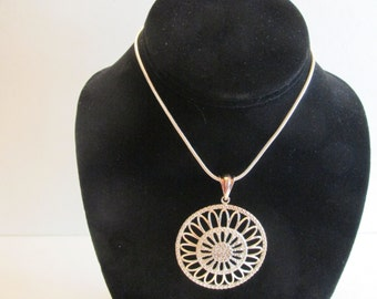 Gorgeous Vintage Sterling Silver Milor Italy large Pendant on Sterling Chain