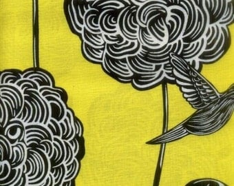 "Floral Fabric: Perch Yellow Fabric by Benartex with birds  100% cotton Fabric by the yard 36""x43"" (C54)"