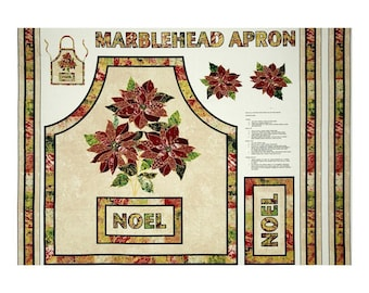 """Christmas Fabric: Marblehead Glistening Christmas Apron with Poinsettia 100% cotton canvas fabric by the PANEL 36""""x44"""" (J72)"""