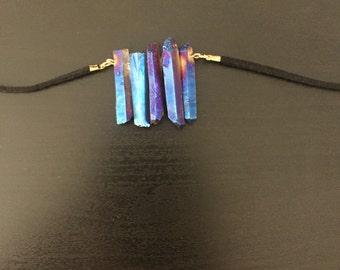 blue quartz boho necklace