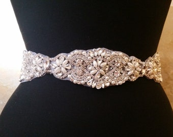 Wedding Belt, Bridal Sash Belt - Crystal Pearl Wedding Sash Belt
