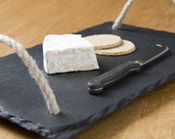 Personalized slate cheese board with sailors rope