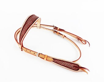 Western Cowboy Horse Rodeo Show Cowhide USA Leather Trail Bridle Headstall Tack