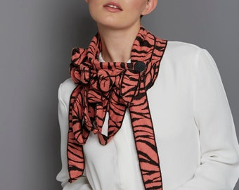 Collette! Tangerine Tiger stripes, Button on Scarf, Transitional, Animal Print Textured Fabric