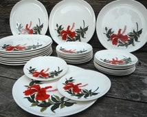 Iva-Lure by Crooksville - Red Hibiscus china set