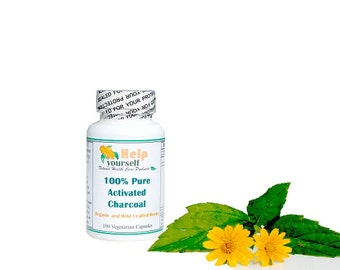 100% Pure Activated Charcoal Powder 100 Vegetarian Capsules